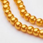Glass Pearl Beads Gold 4mm